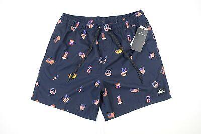 Quiksilver Blau XL USA Flagge America Patriotisch Hot Dog Badehose Shorts Herren