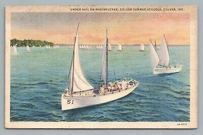 Lake Maxinkuckee Sailing CULVER Indiana Summer Schools—Vintage Sailboat Linen