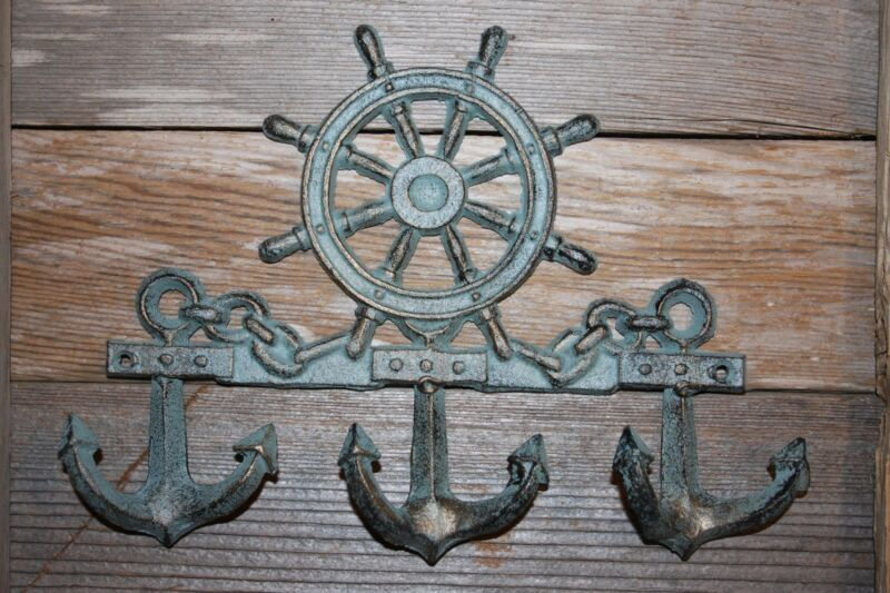 (1) HELM ANCHOR WALL DECOR, BRONZE LOOK HELM ANCHOR WALL HOOK, CAST IRON, BL-62