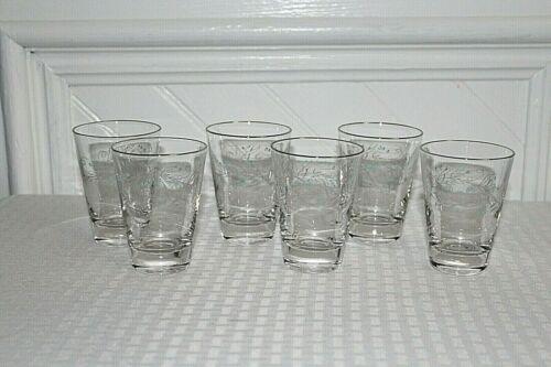 Vintage Set of 6 Juice Glasses- Flower Design