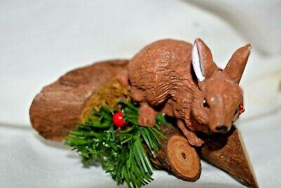 Old Estate=Christmas = Train village:Resin Bunny on real Log slice or Ornament  ()