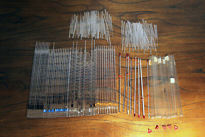 Lot Of 52 Serological Glass Pipete And Glass Thermometers And 97 Droppers Pip