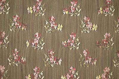 """Nude Stretch Lace Allover Embroidered Floral Design 52"""" wide Fabric by the Yard"""