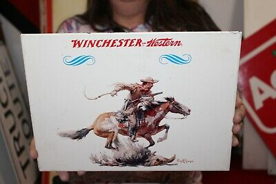Rare Vintage 1960's Winchester Western Rifle Gun Store Hunting Metal Sign NICE