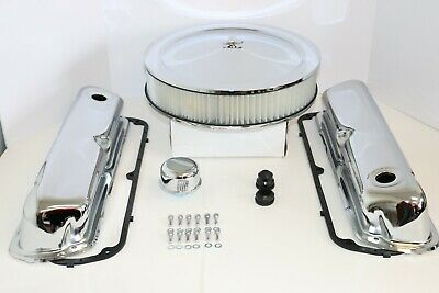 SB Ford Chrome Engine Dress Up Kit Valve Covers Air Cleaner Gaskets SBF 289 302 ()