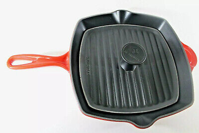 LE CREUSET Set #26 Square Cast Iron Classic Grill Pan Fire Red With Panini Press