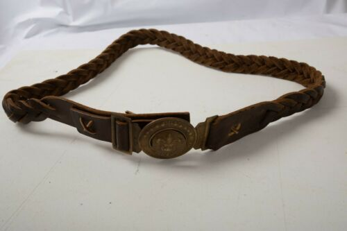 BSA? Boy Scout Belt Leather Braided (O3R) Brass Buckle Tiger Fleur De Lis