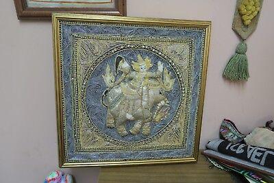 "Used,  Vintage Burmese Kalaga Jeweled Myanmar Tapestry Thai 19"" Square - 21"" Framed for sale  Great Neck"