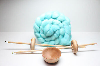 Used, Beginners Complete Lace Weight Drop Spindle Kit - Ocean - Learn To Spin for sale  Spring