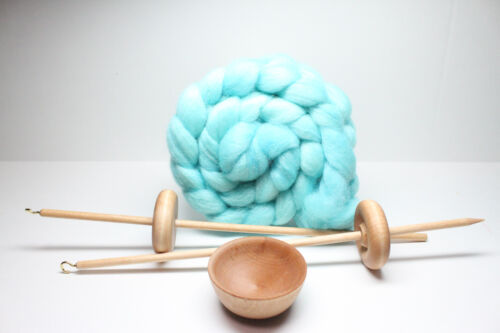 Beginners Complete Lace Weight Drop Spindle Kit - Ocean - Learn To Spin