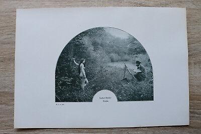 Jugendstil Kunst Blatt 1905 Erotik Frau DIANA Akt Nude Erotic Risque nackt Maler