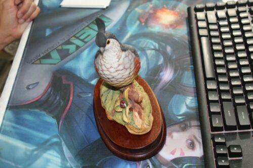 Vintage Hand Painted Porcelain California Quail By Stefani Figurine&Wooden stand