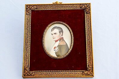 19th C Framed Hand Painted Portrait French Emperor Napoleon Bonaparte Waterloo