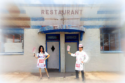 HELLS DINER COUPLE COSTUME COOK WAITRESS HALLOWEEN THEATER COSPLAY ](Diner Costumes)