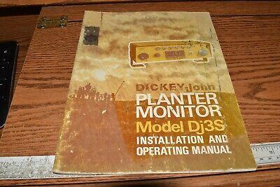 Dickey-john Model Dj3s Installation And Operating Manual Planter Monitor