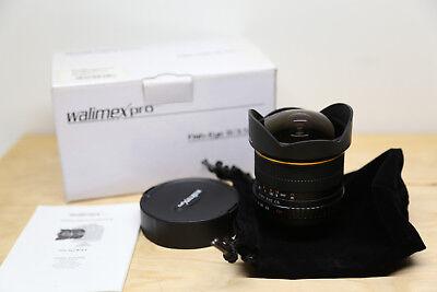Walimex Pro 8 mm F/3.5 APS-C Objektiv Fish-Eye Canon Sehr Guten Zustand mit OVP