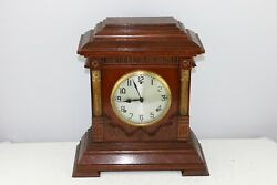 ANTIQUE J. COLLIER & SONS LONDON - AMERICAN WOODEN MANTEL CLOCK