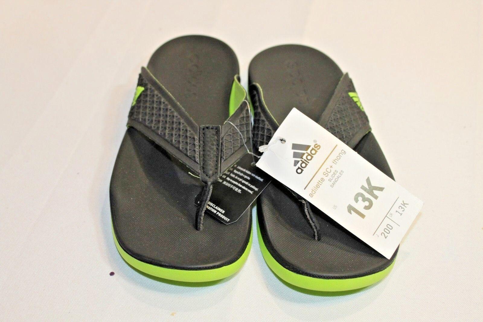 New Boys Adidas Adilette SC+ thong sandals black/green sz 13