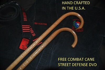 COMBAT CANE- SELF DEFENSE- MARTIAL ARTS- CUSTOM OAK CANES-MADE IN USA- SET OF 2-