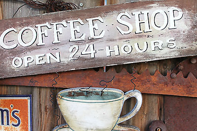 "Coffee Shop Sign Cafe Espresso 24 Hour Java - 17"" x 22"" Fine Art Print - 00003"
