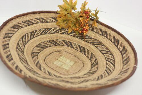 "Large Binga Tonga Flat Basket Wall Decor African Art Zimbabwe 19"" Woven Coil New"