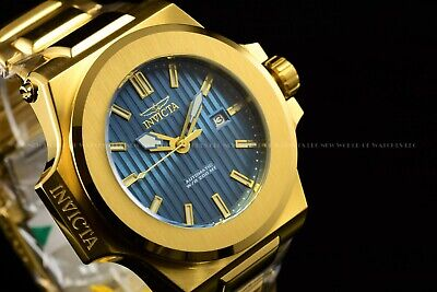 Invicta Men 58mm Akula Prestige Automatic Blue Strips Dial Polished Gold Watch