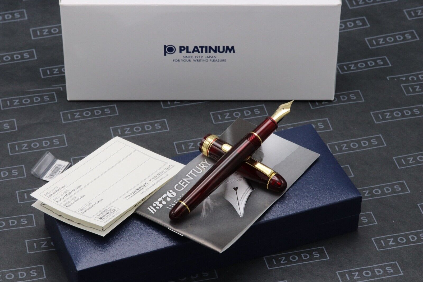 Platinum #3776 Bourgogne Gold Trim Fountain Pen - UNUSED