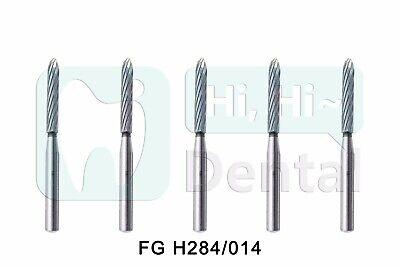 Dental Tungsten Carbide Burs Trimming Finishing Parallel Bevel Fg H284014 5pcs