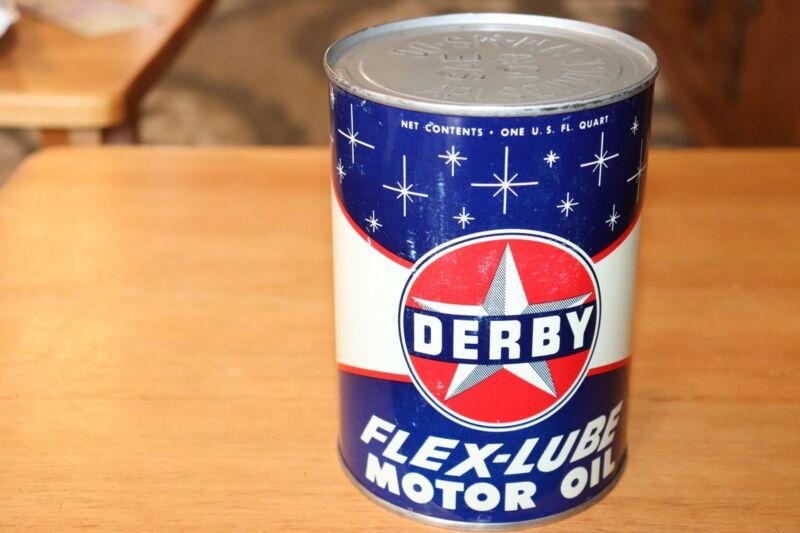 Vintage Derby 1 Qt Metal Can Engine Oil Flex-Lube Motor Oil Full EUC