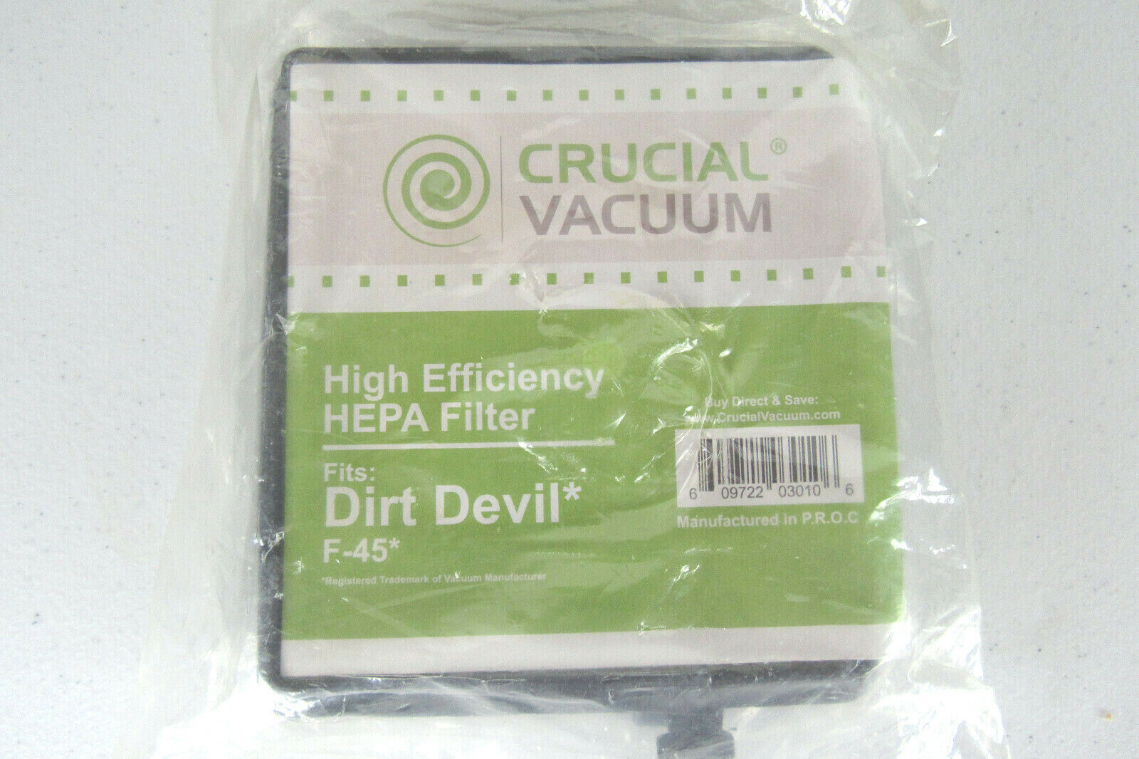 Dirt Devil F45 Canister Filter, Part # 2KQ0107000