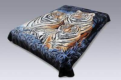 Bengal Blanket - Solaron Classic Bengal Tiger Korean Thick Mink Soft Plush King Size Blanket Blue