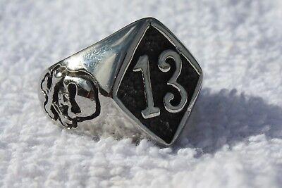 Lucky 13 Skull  Ring Solid  Sz 8,9,10,11,12,13,14,15