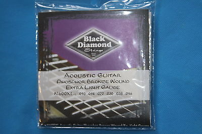 Bronze Wound Extra Light - Black Diamond Phosphor Bronze Wound Extra Light Gauge Strings, 10-46, N600XL