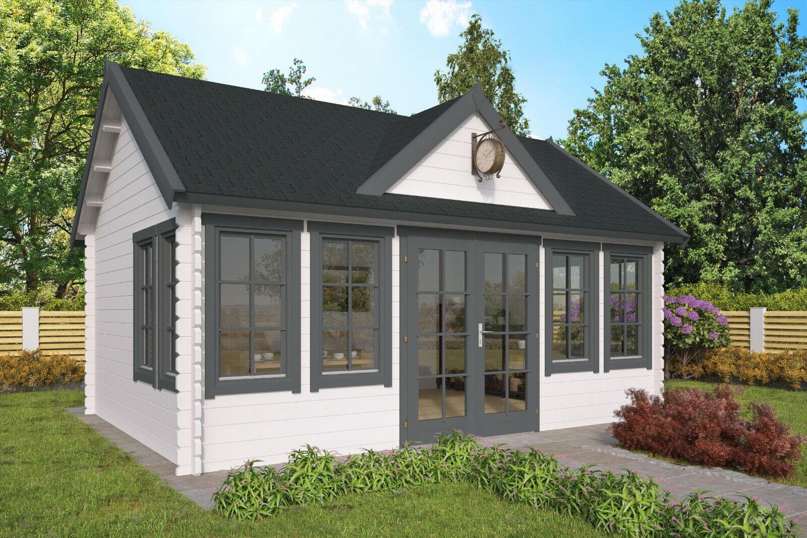 44mm Gartenhaus ISO-Glas 550x400cm Blockhaus Holzhaus Gerätehaus Holz Ferienhaus