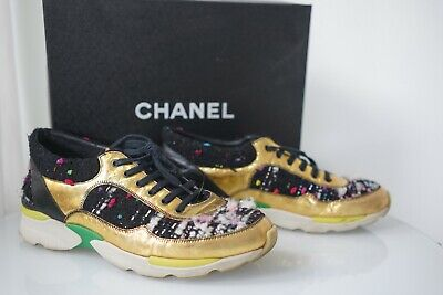 $1.350.00 CHANEL Women Sneakers Gold Leather Tweed Fabric Shoes Size 40