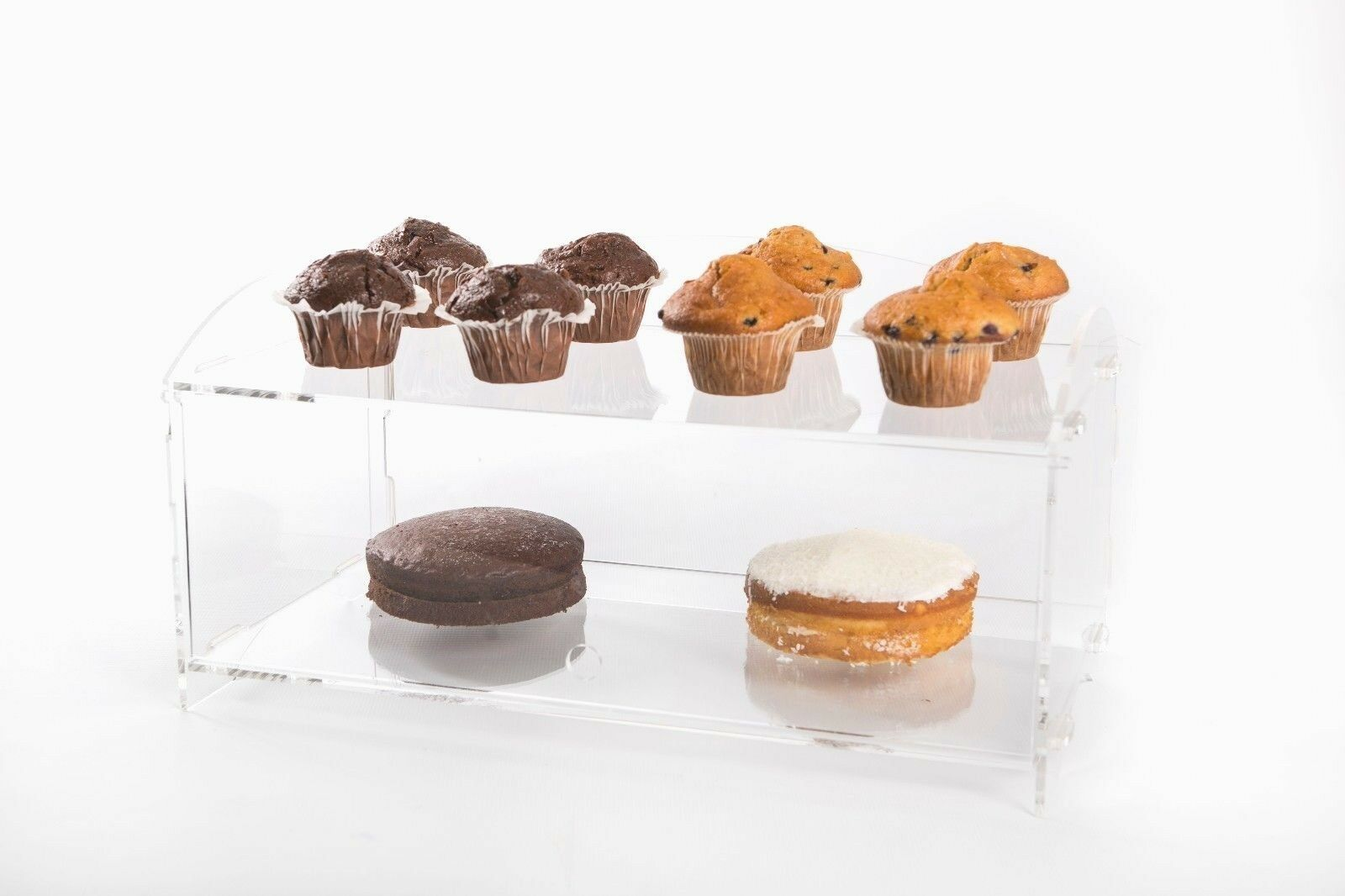 Acrylic Bakery Pastry Display Case Stand Cabinet Cakes Donuts Cupcakes Pastries H520mm x W490mm x D240mm