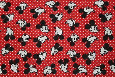 Vtg Walt Disney Mickey Mouse Head On Red Polka Dot Cotton Fabric Canvas Heavy