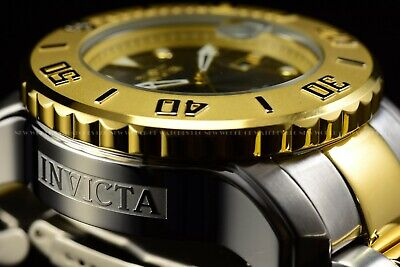INVICTA Men 50mm Grand Diver Propeller Automatic Two Tone Gold Black 300M Watch
