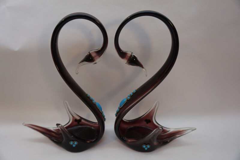VINTAGE MURANO ART GLASS PAIR SWAN HERON JEWELED JEWELS SCULPTURE FIGURINE ITALY