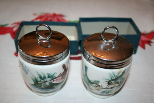 "Pair of Royal Worcester Porcelain 3 1/4"" Egg Coddler, Birds   England 1 with BOX"