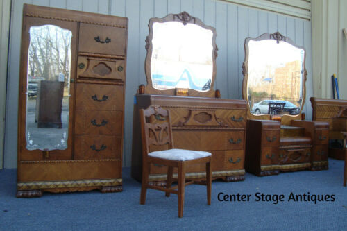 61449 Art Deco Bedroom Set Chifferobe Bed Dresser w/ Mirror Vanity w/ mir. Night