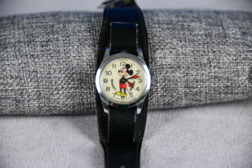 Vintage Mickey Mouse Watch Red Gloves- Bradley Swiss  (RF423)