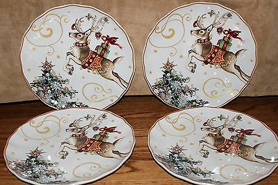 set/4 New Williams Sonoma Twas Night Before Christmas Reindeer salad plates