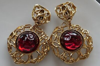 YSL YVES SAINT LAURENT EARRINGS GRIPOIX GORGEOUS EXTRA LARGE