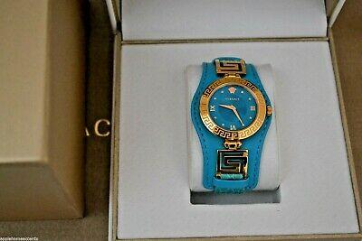 VERSACE VLA080014 SWISS DIAMOND ACCENT TURQUISE LEATHER STRAP WATCH RETAIL $1595