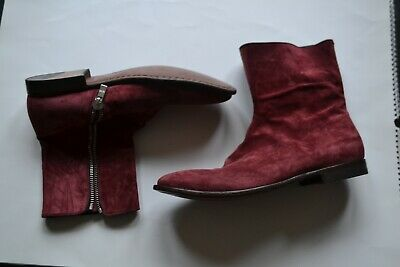 BRAND NEW MENS ALEXANDER MCQUEEN RED BURGANDY BOOTS SHOES 42 8