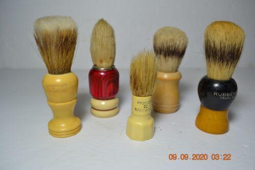 Lot of FIVE Vintage Shaving Brushes  Surrey, Everready, Rubberset,  Ocean