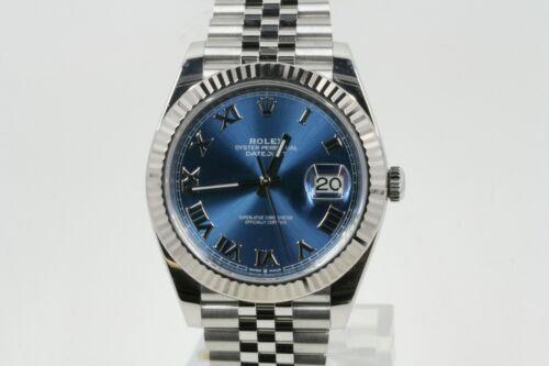Rolex Datejust 41 Model 126334 Blue Roman Numeral Dial & A Fluted Bezel