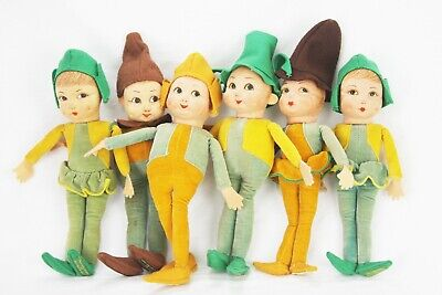 Vintage Norah Wellings Little Pixie People Dolls Set of 6 - Little Pixie Clothes