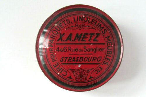 "Vintage French X.A. Metz-Strasbourg Red Tin 4 1/2"" Diameter"